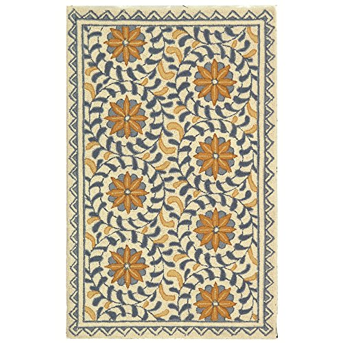 Safavieh Chelsea Collection HK150A Hand-Hooked Ivory and Blue Premium Wool Area Rug (2'6