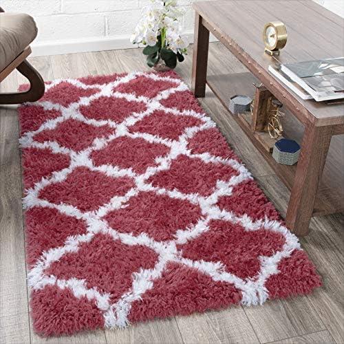 Ottomanson Flokati Trellis Design Shag Runner Rug, 2 7 x 5 , Red