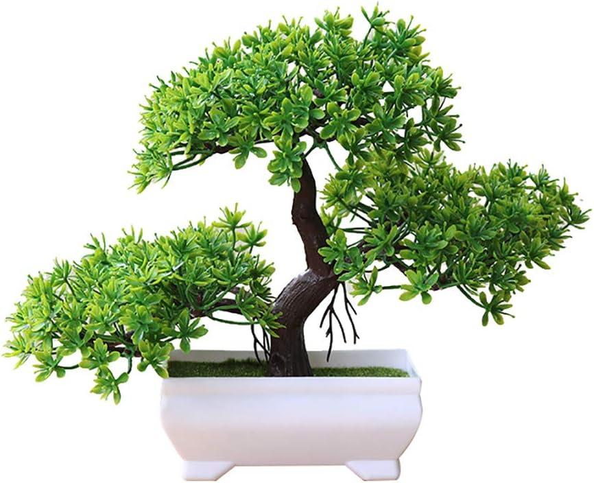 dezirZJjx Artificial Plants Welcoming Pine Bonsai Simulation Artificial Potted Plant Ornament Home Decor - Green