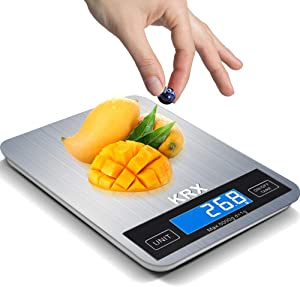 Food Scale, KRX Digital Kitchen Scale for Baking Cooking Weighs in Grams and Ounce with 1g/0.1oz Precise Graduation LCD Display Waterproof Stainless Steel Surface, Battery Include