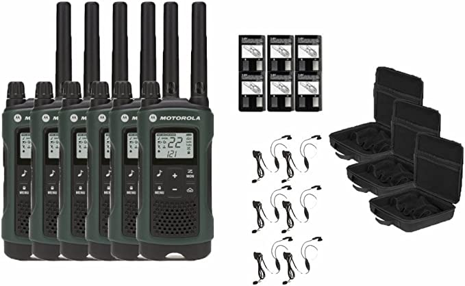 Walkie Talkies Motorola Talkabout T465 Two-Way Radios Weatherproof 22 Channels PTT IVOX Flashlight 6-PACK T465-6PK