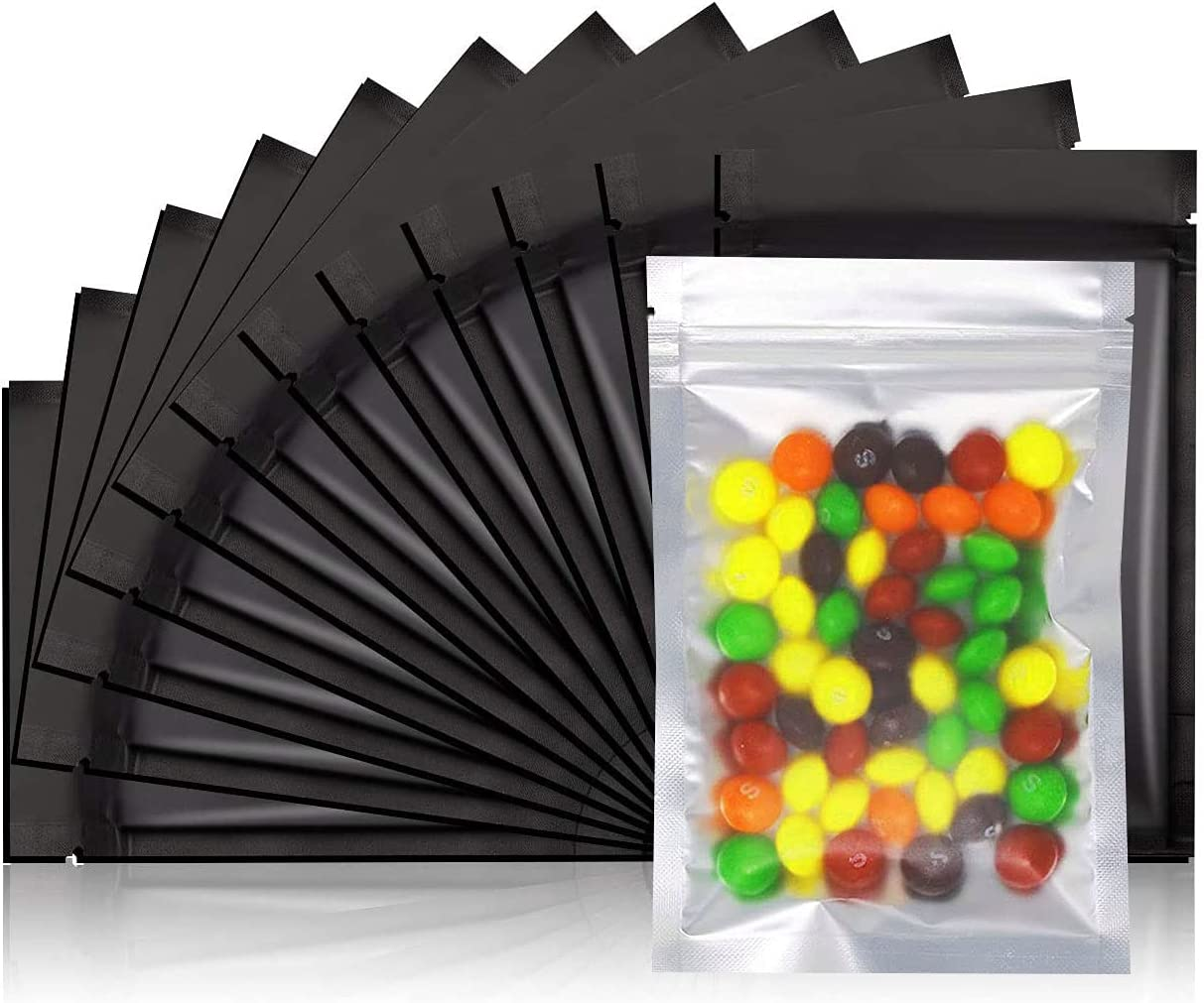 COQOFA 100Pcs 4x6 inch Smell Proof Bags Resealable Ziplock Mylar Bag Front Matte Clear Matte Black Food Safe Storage Foil Pouch Bags