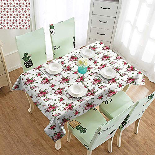 DILITECK Restaurant Tablecloth Flowers Bridal Bouquets Pattern with Roses and Freesia Romantic Victorian Composition and Durable W52 xL72 Pink Ruby Green