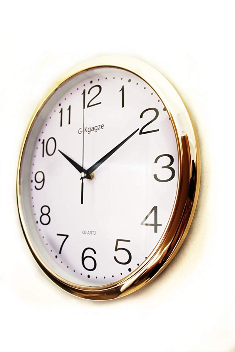 "G-Kgagze 12"" Battery Operated Silent & Non-Ticking Wall Clock-Easy to Read (Rose Gold)"