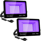 Onforu 2 Pack 30W LED Black Lights, Blacklight Flood Light with Plug, IP66 , for Dance Party, Glow in The Dark, Stage Lightin