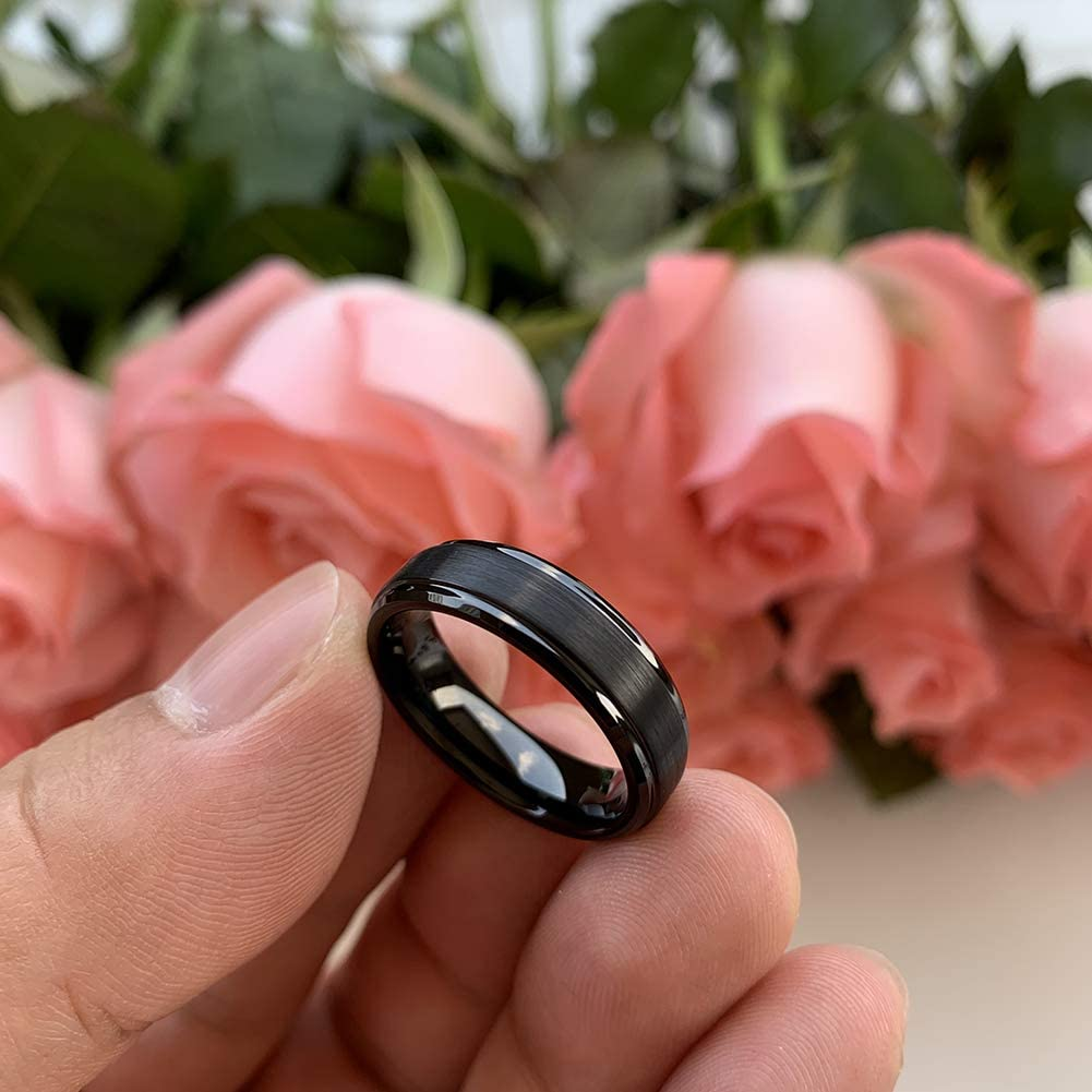 Wow Jewelers 6mm 8mm Tungsten Rings for Men Women Gunmetal/&Black/&Silver Color Matte Finish Stepped Beveled Edges Comfort Fit