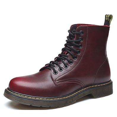 404fb2e97c02 PADGENE Boots Homme Martin Bottes de Combat Flattie Sport Chaussures  Classiques Bottines en Cuir À Lacets