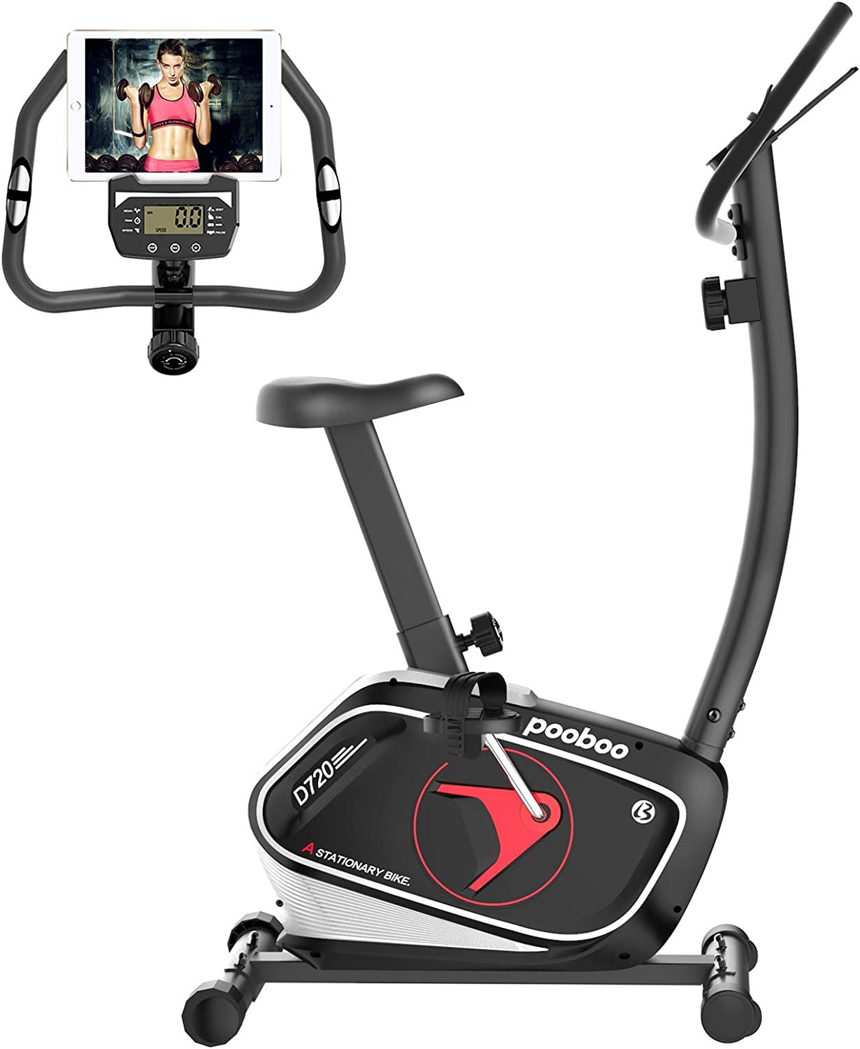 pooboo Magnetic Exercise Bike Upright Exercise Bikes Stationary Bike with Adjustable Seat for Home Office Workout with with LCD Display & Ipad Mount