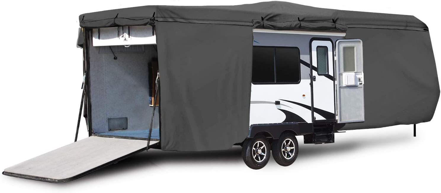 Engine and Ramp Door Side Storage Areas Waterproof Durable RV Motorhome Travel Trailer//Toy Hauler Cover Fits Length 38-40 Travel Trailer Camper Zippered Panels Allow Access To The Door