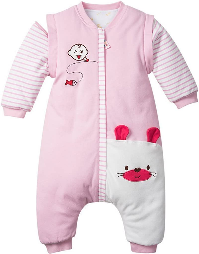 9-24 Months Baby Sleeping Bag with Feet and Removable Sleeves Toddler Wearable Blanket Anti Kick Sleepwear Winter Sleep Sack