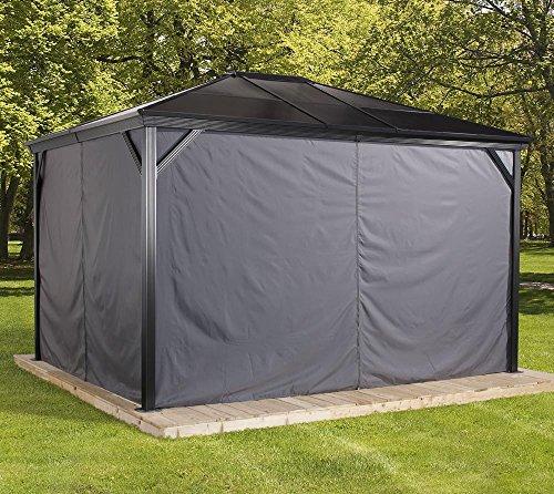 Sojag Aluminium Pavillon Verona 10x10 Vorhänge Seitenteile Dunkelgrau / passend für Gartenlaube Verona 10x10