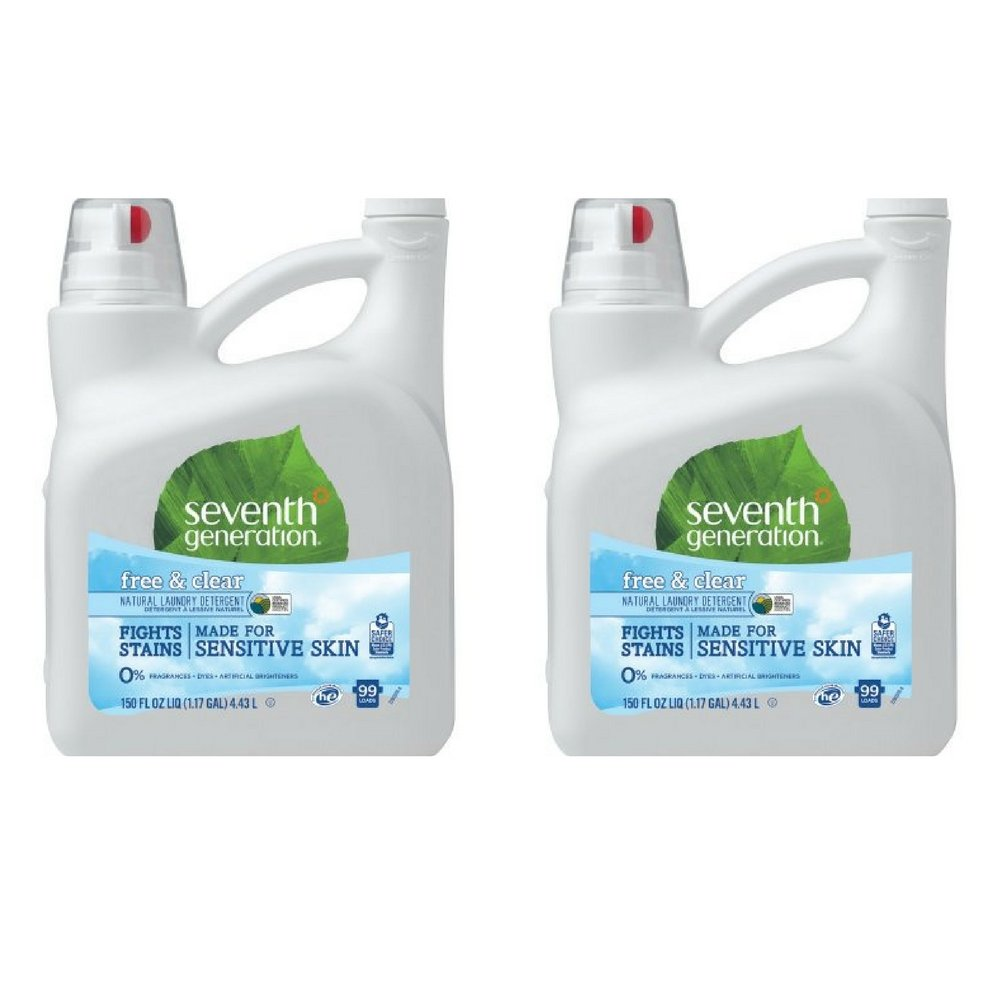 Seventh Generation Liquid Laundry Detergent, Free & Clear, 150 oz (2 pack)