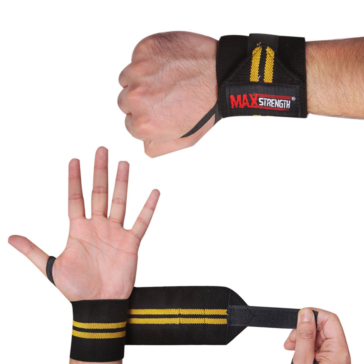 Yellow//Black donna Uomo Bodybuilding Gym Training lunghezza: 30,5/cm Maxstrenght/® Coppia fasce polsiera /Supporto polso per sollevamento pesi in palestra e powerlifting