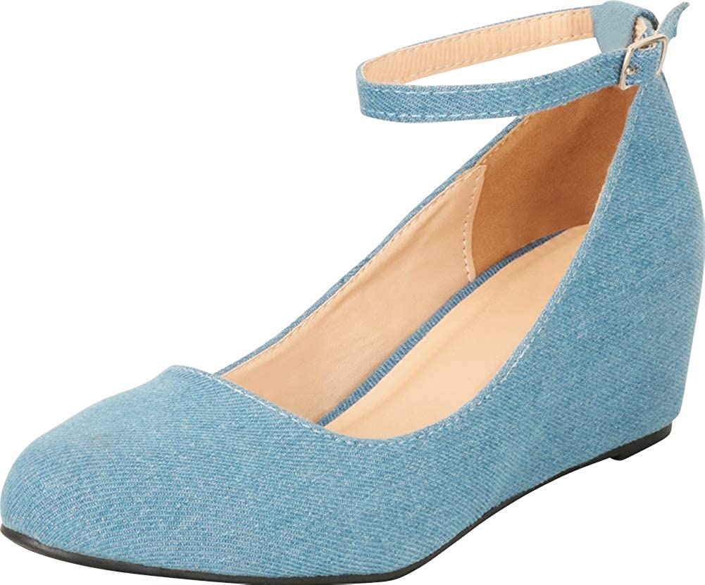 Denim Cambridge Select Women's Round Toe Buckled Ankle Strap Wrapped Wedge