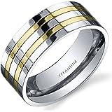 Revoni Traditional Mens 8mm Titanium Two Tone Wedding Band Ring