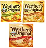 Werthers, Variety Pack, 1 Caramel, 1 Caramel Apple Filled, 1 Creamy Caramel Filled, Hard Candies, 2.65 oz Per Bag
