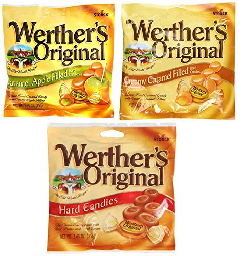 Werthers, Variety Pack, 1 Caramel, 1 Caramel Apple Filled, 1 Creamy Caramel Filled, Hard Candies, 2.65 oz Per Bag by Werther's