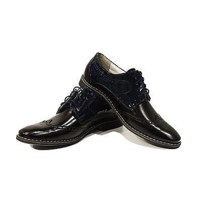 Modello Crispino - Cuero Italiano Hecho A Mano Hombre Piel Negro Zapatos Vestir Oxfords - Cuero Cuero Suave - Encaje: Amazon.es: Zapatos y complementos
