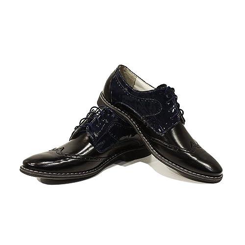 Modello Crispino - 44 EU - Cuero Italiano Hecho A Mano Hombre Piel Negro Zapatos Vestir Oxfords - Cuero Cuero Suave - Encaje DEa9BACB4