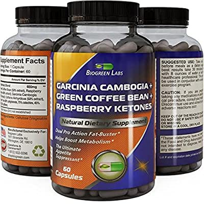 Pure Garcinia Cambogia Extract + Raspberry Ketones + Green Tea + Green Coffee Bean Extract Weight Loss Pills - Metabolism Boosters - Appetite Suppressant With HCA For Men And Women By BioGreen Labs