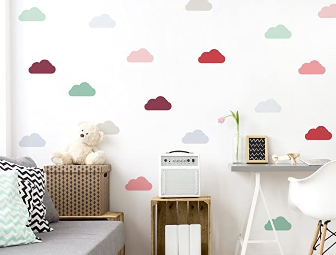 Pegatinas de pared de nubes de 20 piezas ni/ños peque/ños adhesivo de papel tapiz para beb/és adhesivo de pared Decoraci/ón de la pared del ojo so/ñoliento colores pastel Mural azul