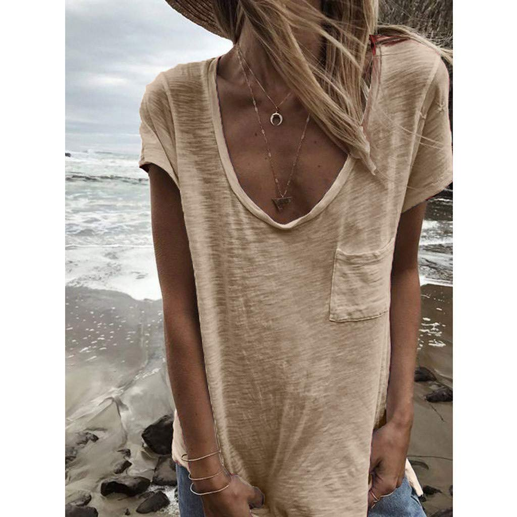 Womens Summer Solid Color Pocket Short Sleeve Top Casual Loose T-Shirt
