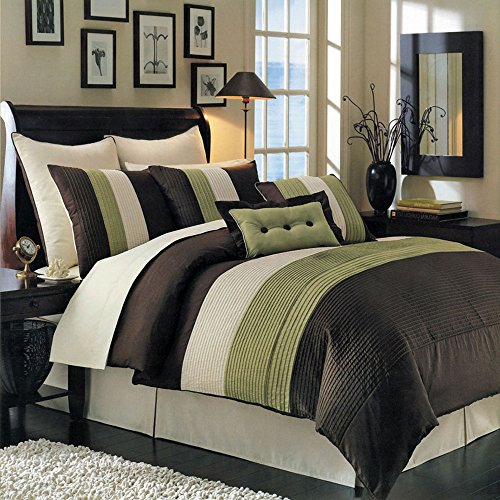 - Hudson Sage, Brown, and Cream Full size Luxury 8 piece comforter set includes Comforter, bed skirt, pillow shams, decorative pillows