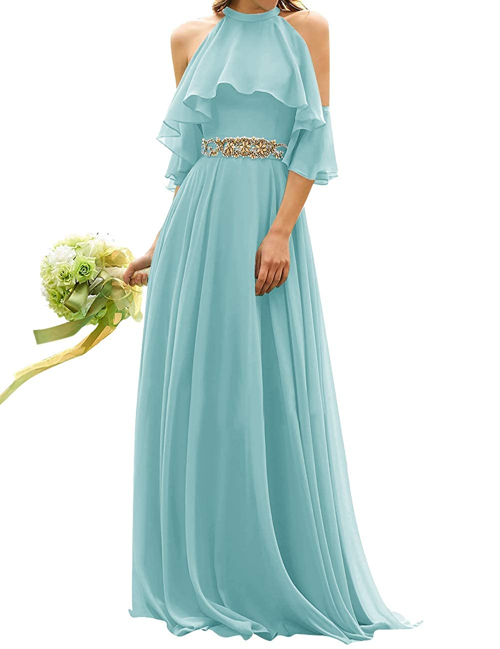 Ice bluee Uther Long Bridesmaid Dress Cold Shoulder Beaded Ruffle Sleeves Wedding Party Dresses