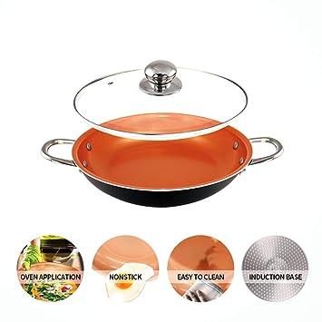 Sartén de cobre de 14 pulgadas con tapa, cazuela de wok con tapa Base de