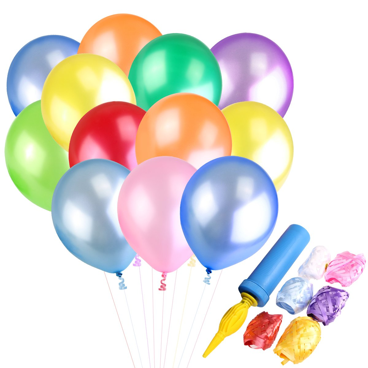 NUOLUX 100pcs Latex Balloons with Balloon Inflator 6 Rolls Ribbons(random color)