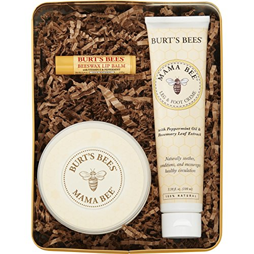 Burt's Bees Mama Bee Gift Set with Tin, 3 Pregnancy Skin Care Products - Leg & Foot Cream, Belly Butter and Original Beeswax Lip Balm -