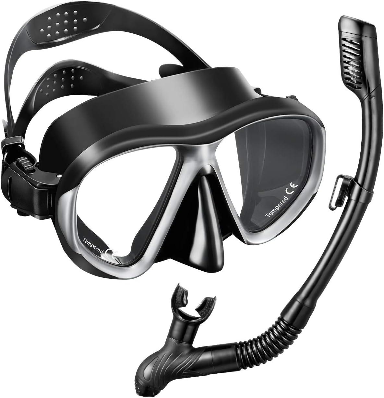 OMoc Set de plongée avec masque et tuba Idéal pour snorkeling Avec verre trempé antibuée pour que le masque reste sec Pour adultes et enfants
