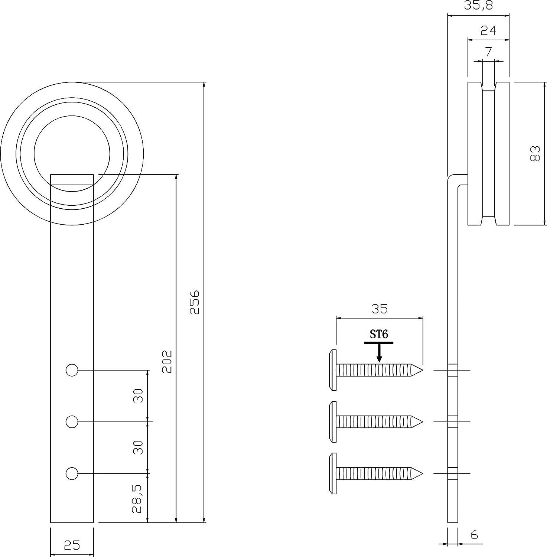 Schiebet/ürrollen f/ür Schiebet/üren 2-teiliges Laufrollen-SetModern Mattschwarz 255 mm INTERSTEEL Innent/üren und Wandschr/änke