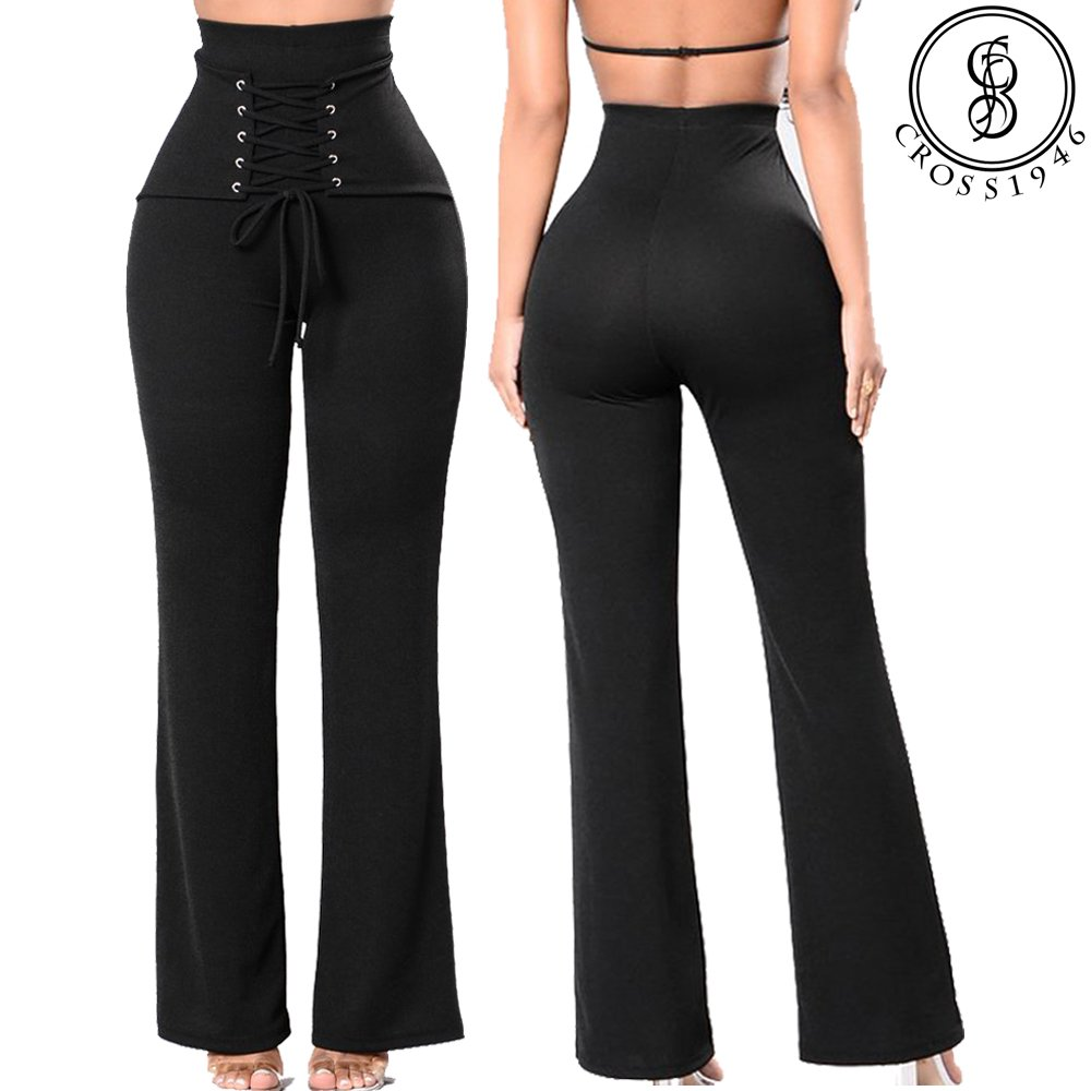 34faddb8da58a6 CROSS1946 Women's Thick High Waist Tummy Slimming Leggings Corset Belt Lace  up Front Skinny Yoga Pants at Amazon Women's Clothing store: