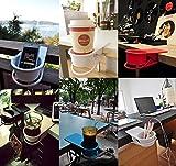 YOY 2 Pack Drink Cup Holder Clip - Home Office Table Desk Side Huge Clip Water Drink Beverage Soda Coffee Mug Holder Cup Saucer Clip Design, Black