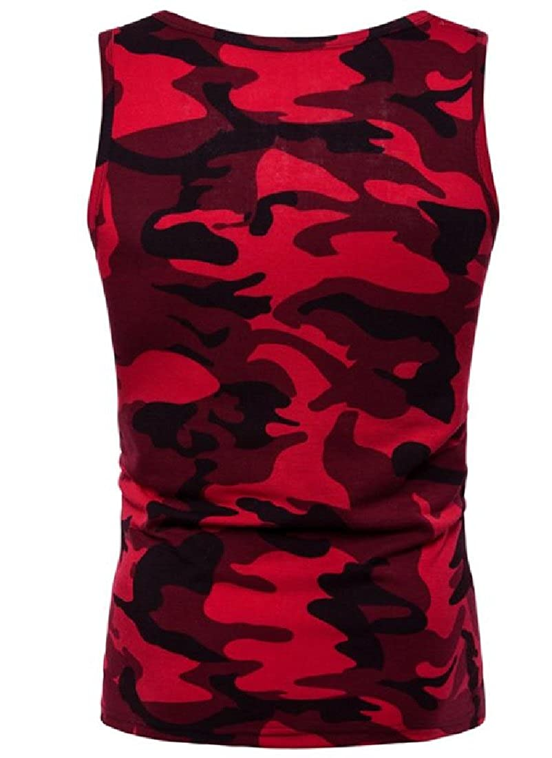 Whitive Men Juniors Large Size Camouflage Slim Casual Tank Jersey