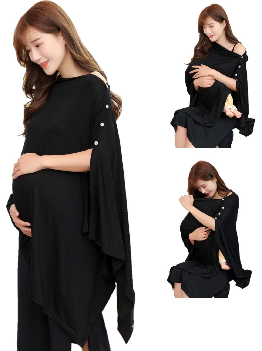 Black Nursing Cover Poncho for Breastfeeding Nursing Shawl Cover Ups Maternity Pregnancy Poncho Adjustable Buttons Breathable Bamboo Perfect Gift Idea by TwoYek