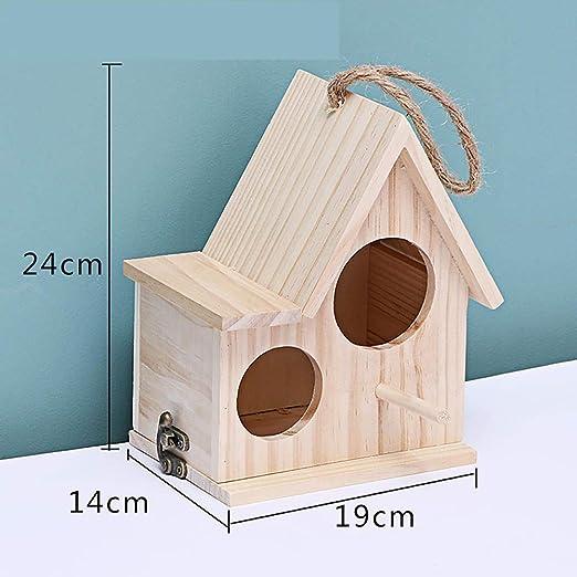 Tlwrnop Casas para Pájaros Nidos para Pájaros Casa De Pájaros De Madera Caja De Cría Nido De Pájaros Chalet Jaula Manual Accesorios De Jardín Casa Exterior Decoración Colgante Exterior @ D: Amazon.es: