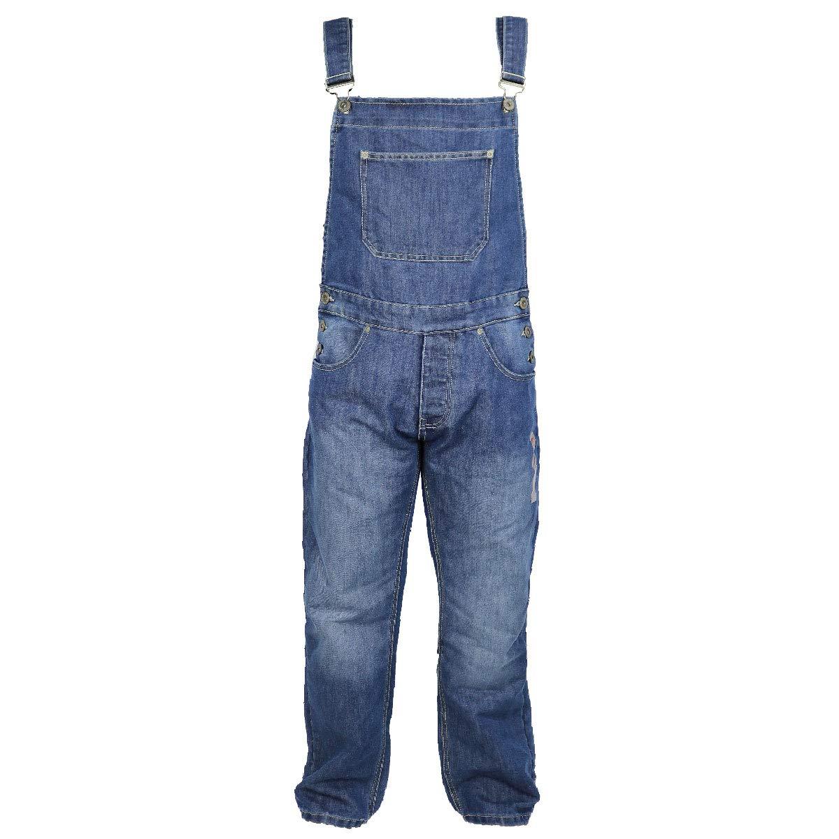 VON DENIM Mens Denim Cotton Dungarees with Button Fly and Bib Pocket Stylish Overalls Fashion Work Boiler Suit Blue Black