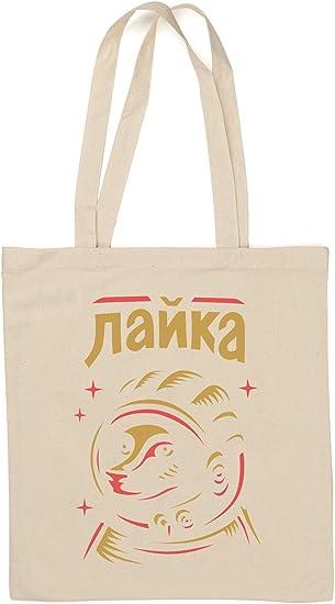 Laika Line Sketch Art Space Race Graphic Bolsa de algodón Natural ...