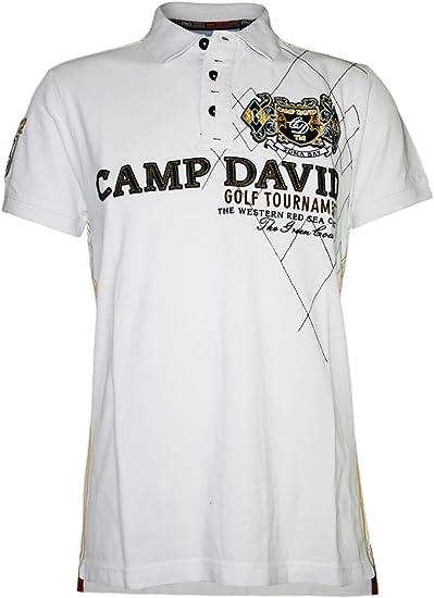 Camp David Men Designer Polo Shirt Golf Tournament Xxl White