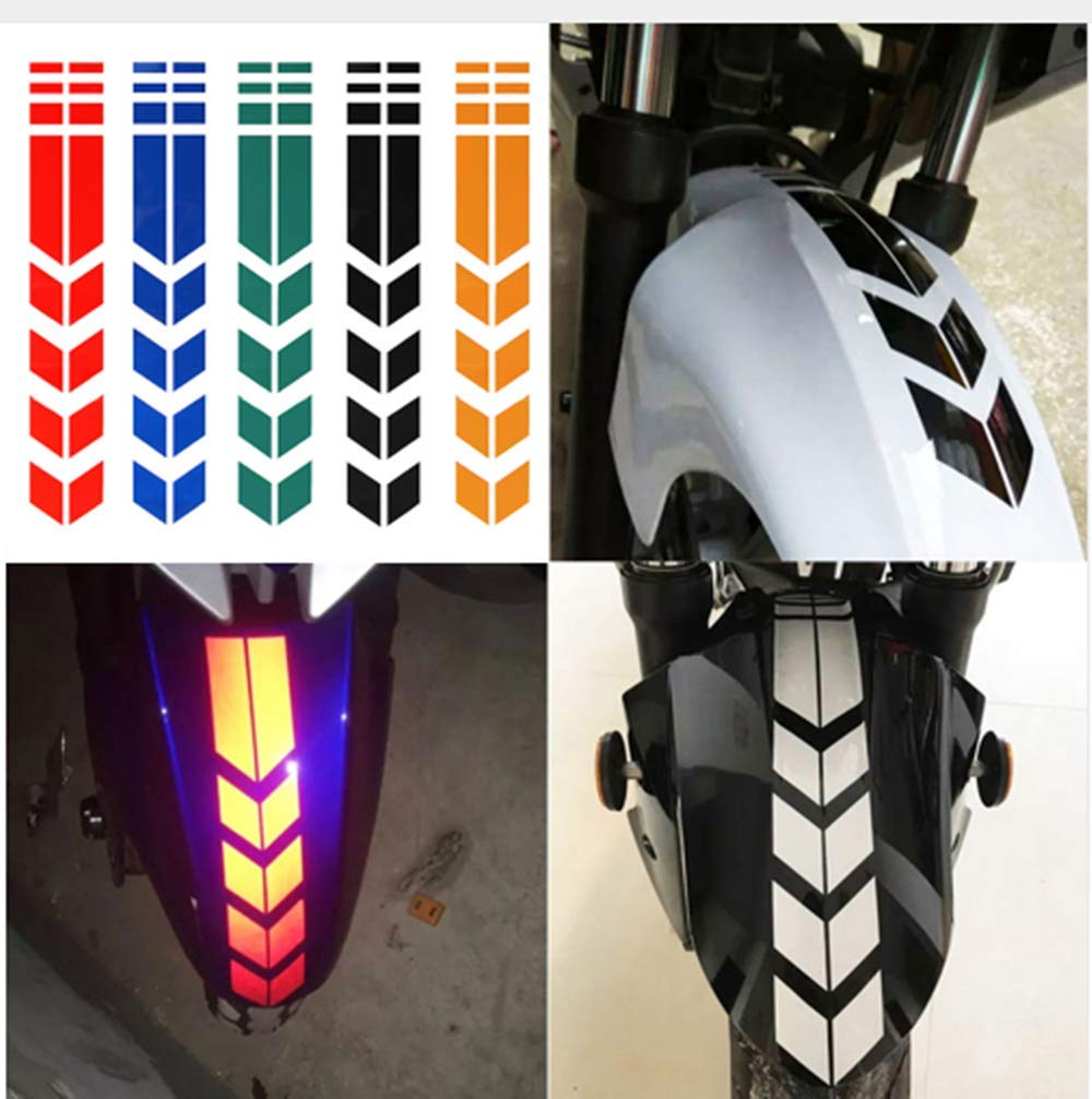 Hapbest 6pcs set motorcycle reflective stickers wheel on fender waterproof safety warning arrow tape car decals motorbike decoration accessories amazon in