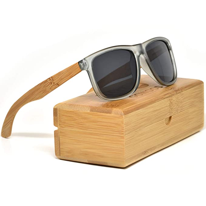 b1948982b72 Bamboo Wood Square Sunglasses For Men   Women with Frosted Grey Front and  Polarized Lenses  Amazon.ca  Clothing   Accessories