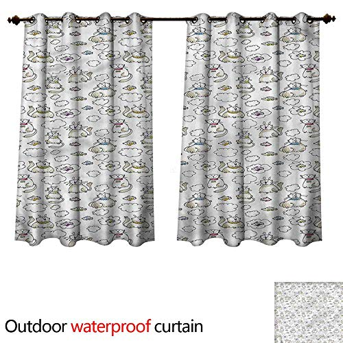 (cobeDecor Sketch Outdoor Curtains for Patio Sheer Chubby Kitties Puffy Clouds W63 x L72(160cm x 183cm))