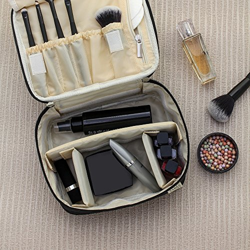 Ellis James Designs Travel Makeup Bag Organizer for Women - Black - 2-in-1 Make Up Bag and Nail Polish Case - Large Makeup Brush Bag with, Handle and Compartments