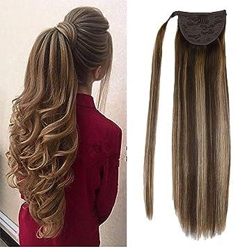 Amazon Com Laavoo 14 Ponytail Human Hair Extensions Balayage