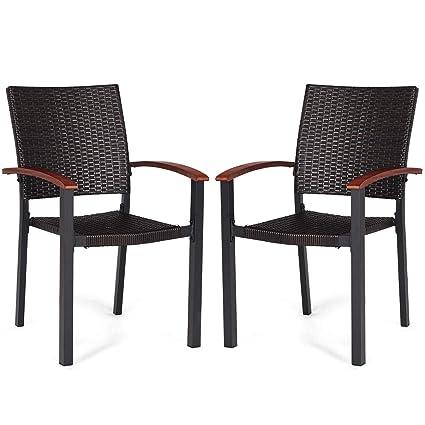 Amazon Com Tangkula Dining Chairs Outdoor Outdoor Indoor Garden