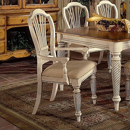 Hillsdale Wilshire Fabric Arm Dining Chair in Antique White (Set of 2) (Hillsdale Chair Fabric)