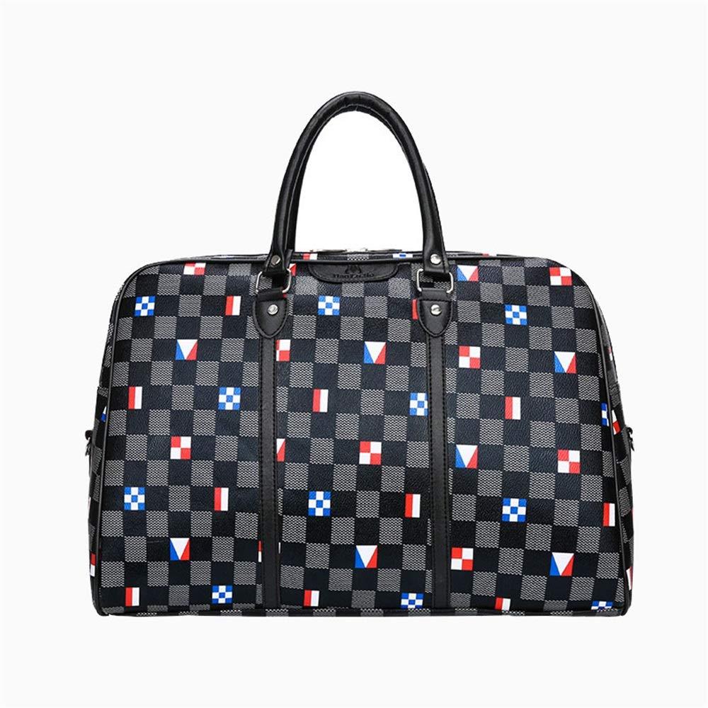 Crystalzhong Travel Duffel Hand Luggage Plaid Pattern Portable Travel Bag PU Waterproof Gym Bag Traveling Short-Distance Bag Boarding Bag Waterproof Shoulder Bag Weekender Overnight Luggage