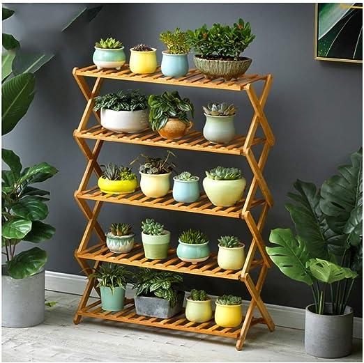 Estanteria para Macetas Escalera de estante de exhibición de macetas de bambú con soporte de planta